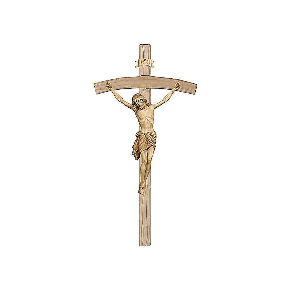 Crocefisso brunito 3 colori Cristo Siena croce curva 4