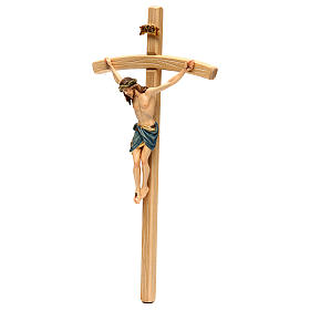 Crucifix with Jesus Christ statue Siena model, coloured curved cross s3
