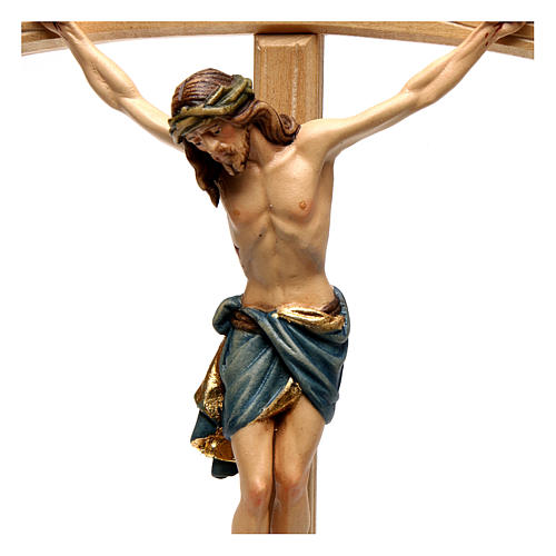 Crucifix with Jesus Christ statue Siena model, coloured curved cross 2