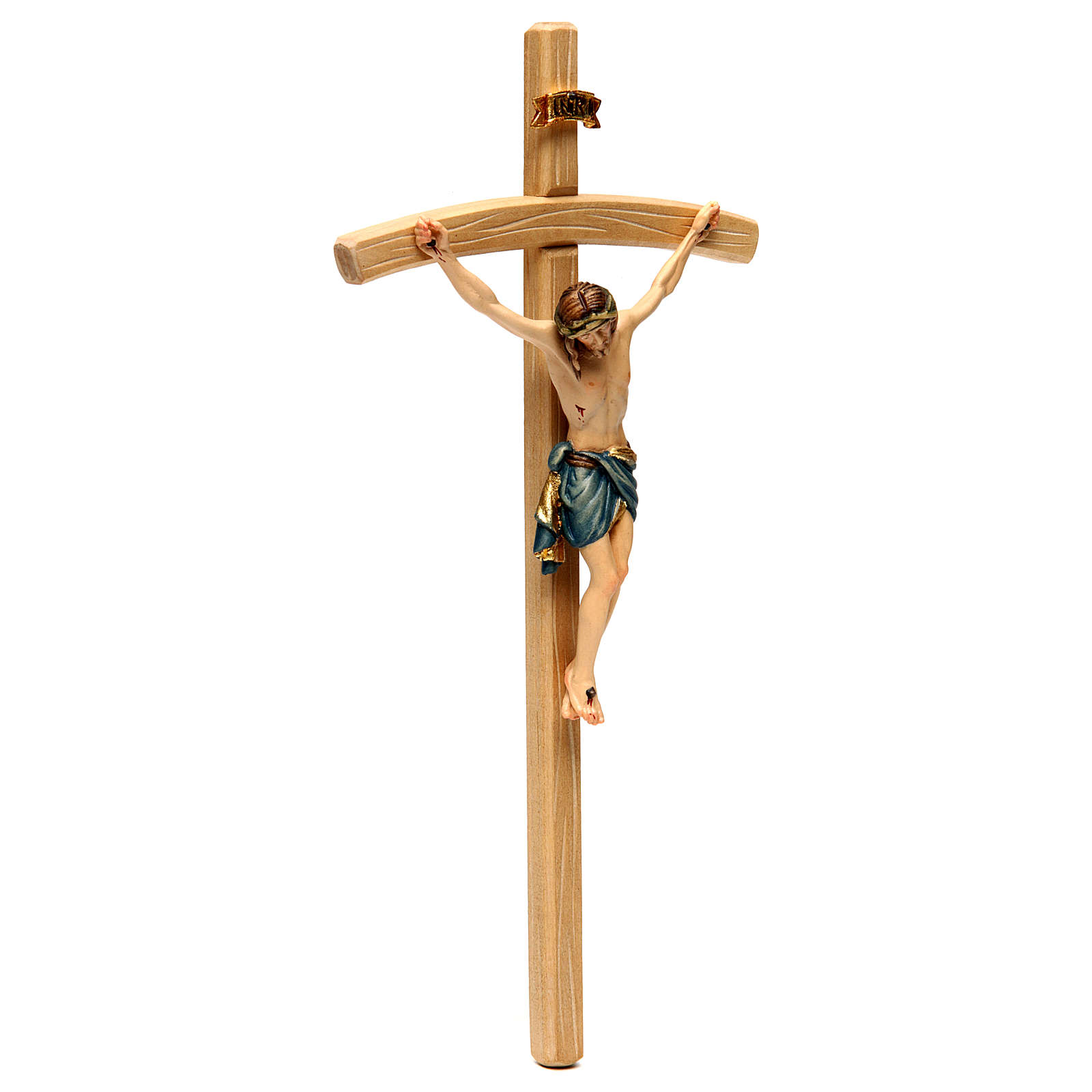 Crucifix with Jesus Christ statue Siena model, coloured curved cross