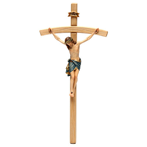 Crucifix with Jesus Christ statue Siena model, coloured curved cross 1