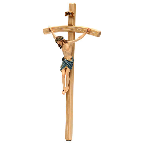 Crucifix with Jesus Christ statue Siena model, coloured curved cross 3