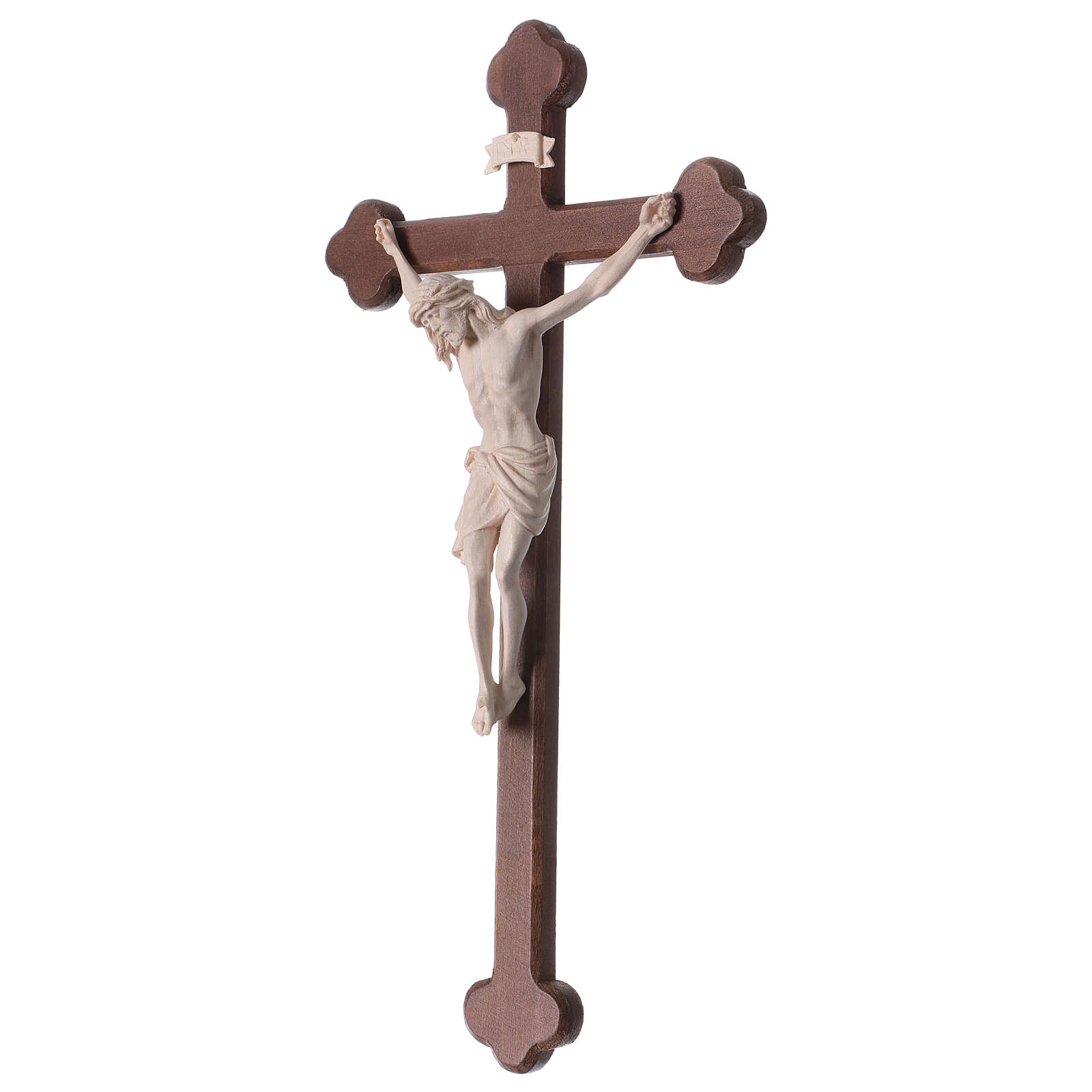 Crucifix with Jesus Christ statue Siena model in burnished natural wood Baroque style 4
