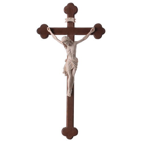 Crucifix with Jesus Christ statue Siena model in burnished natural wood Baroque style 1