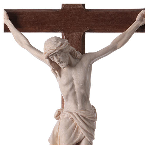 Crucifix with Jesus Christ statue Siena model in burnished natural wood Baroque style 2