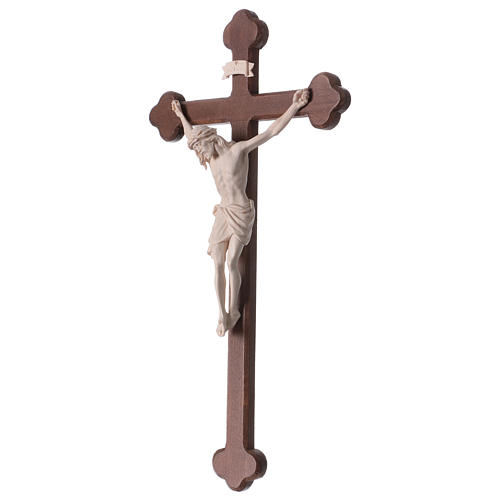 Crucifix with Jesus Christ statue Siena model in burnished natural wood Baroque style 3