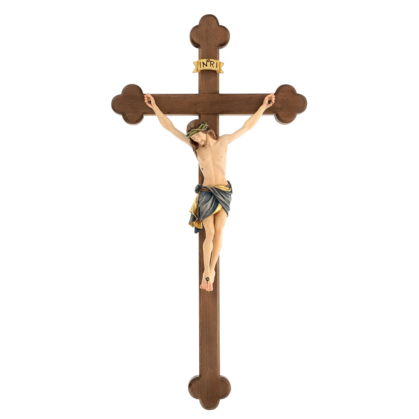 Crucifix with Jesus Christ statue Siena model finished in burnish in Baroque style 4