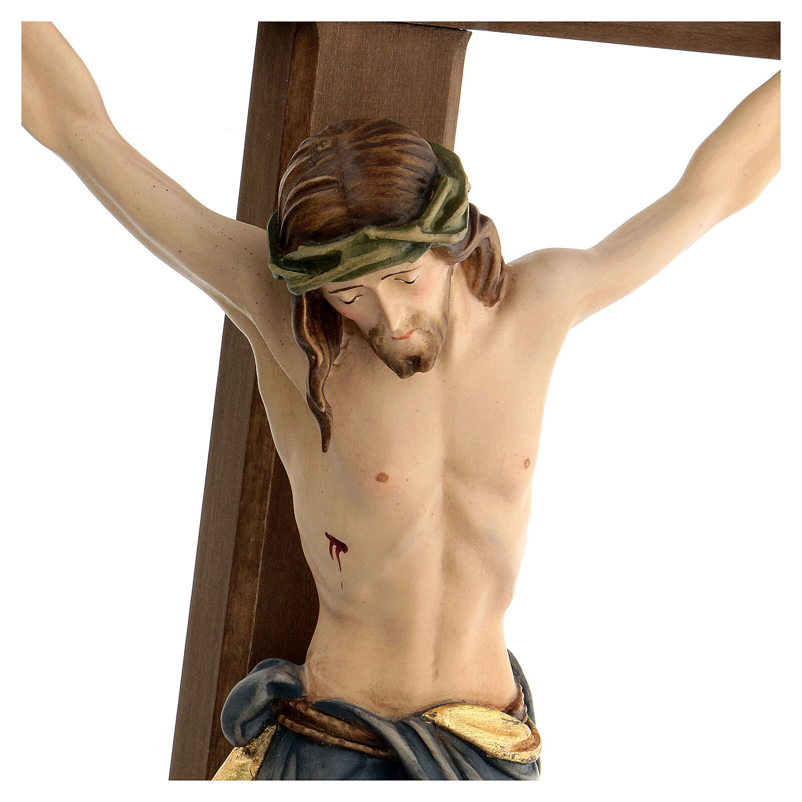 Crucifix coloré Christ Sienne croix baroque brunie 4