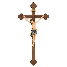 Crucifix coloré Christ Sienne croix baroque brunie s1