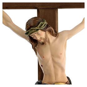 Crucifix coloré Christ Sienne croix baroque brunie s6