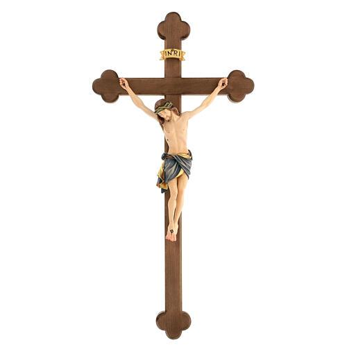 Crucifix coloré Christ Sienne croix baroque brunie 1