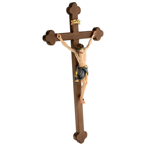 Crucifix coloré Christ Sienne croix baroque brunie 2