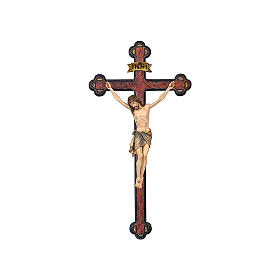 Crocefisso colorato Cristo Siena croce barocca antichizzata s1