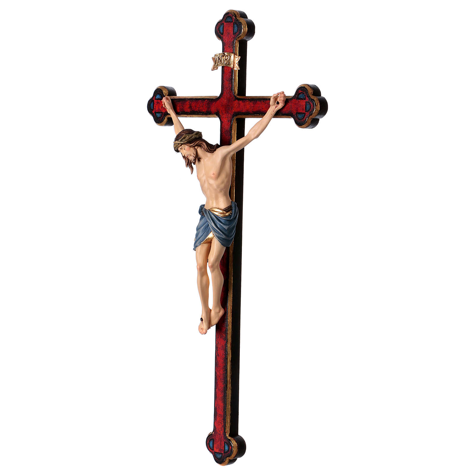 Crucifijo coloreado Cristo Siena cruz oro barroca 4