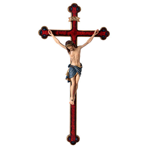 Crucifijo coloreado Cristo Siena cruz oro barroca 1