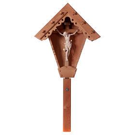 Cristo su Croce di Campagna larice Valgardena naturale s1