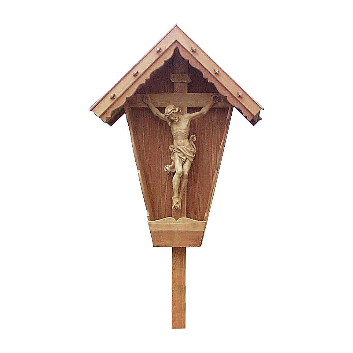 Cristo su croce di Campagna larice res. Acqua Valgardena naturale 4