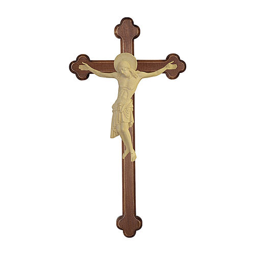 Crucifijo Cimabue cruz bruñida barroca madera Val Gardena natural 1