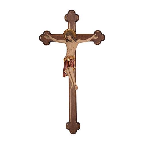 Crocifisso Cimabue croce brunita barocca legno Valgardena dipinta 1