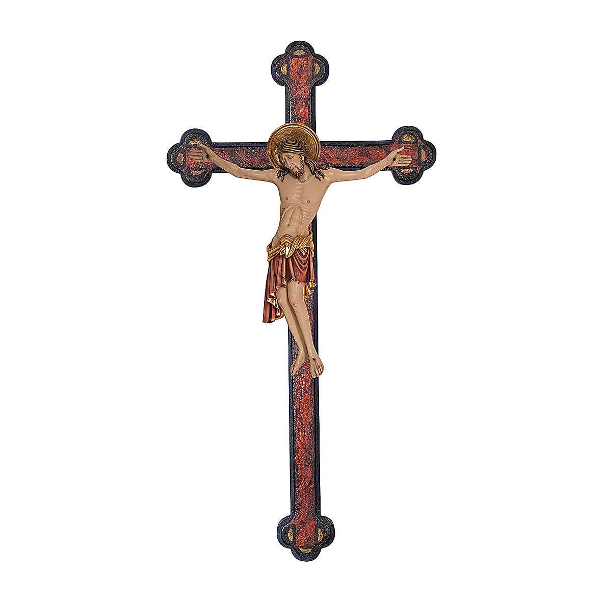 Crucifix Cimabue croix vieillie baroque bois Val Gardena peint 4