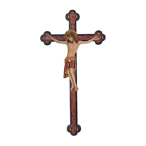 Crucifix Cimabue croix vieillie baroque bois Val Gardena peint 1