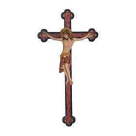 Crocifisso Cimabue croce antichizzata barocca legno Valgardena dipinta s1