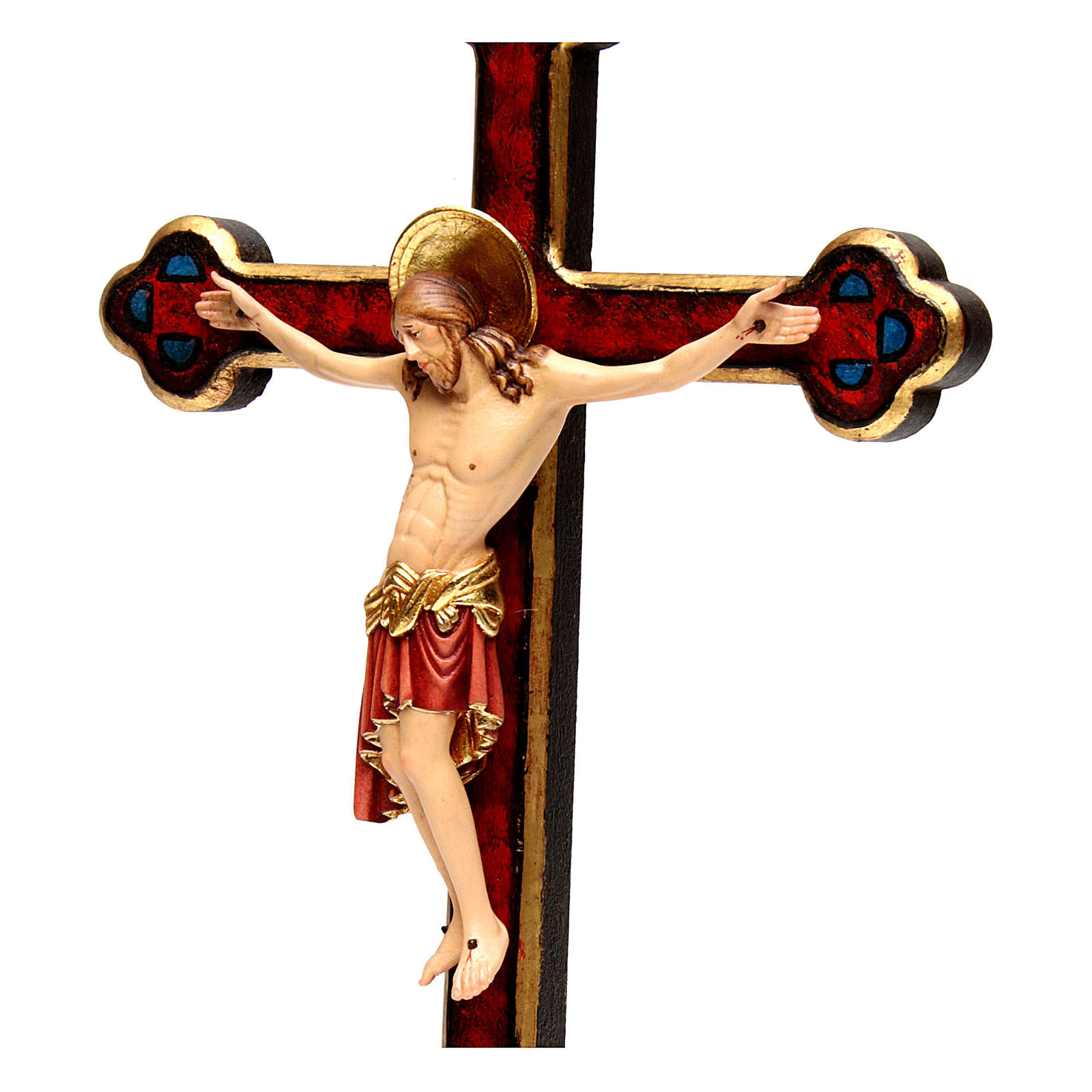 Crucifijo Cimabue cruz oro barroca madera Val Gardena pintada 4