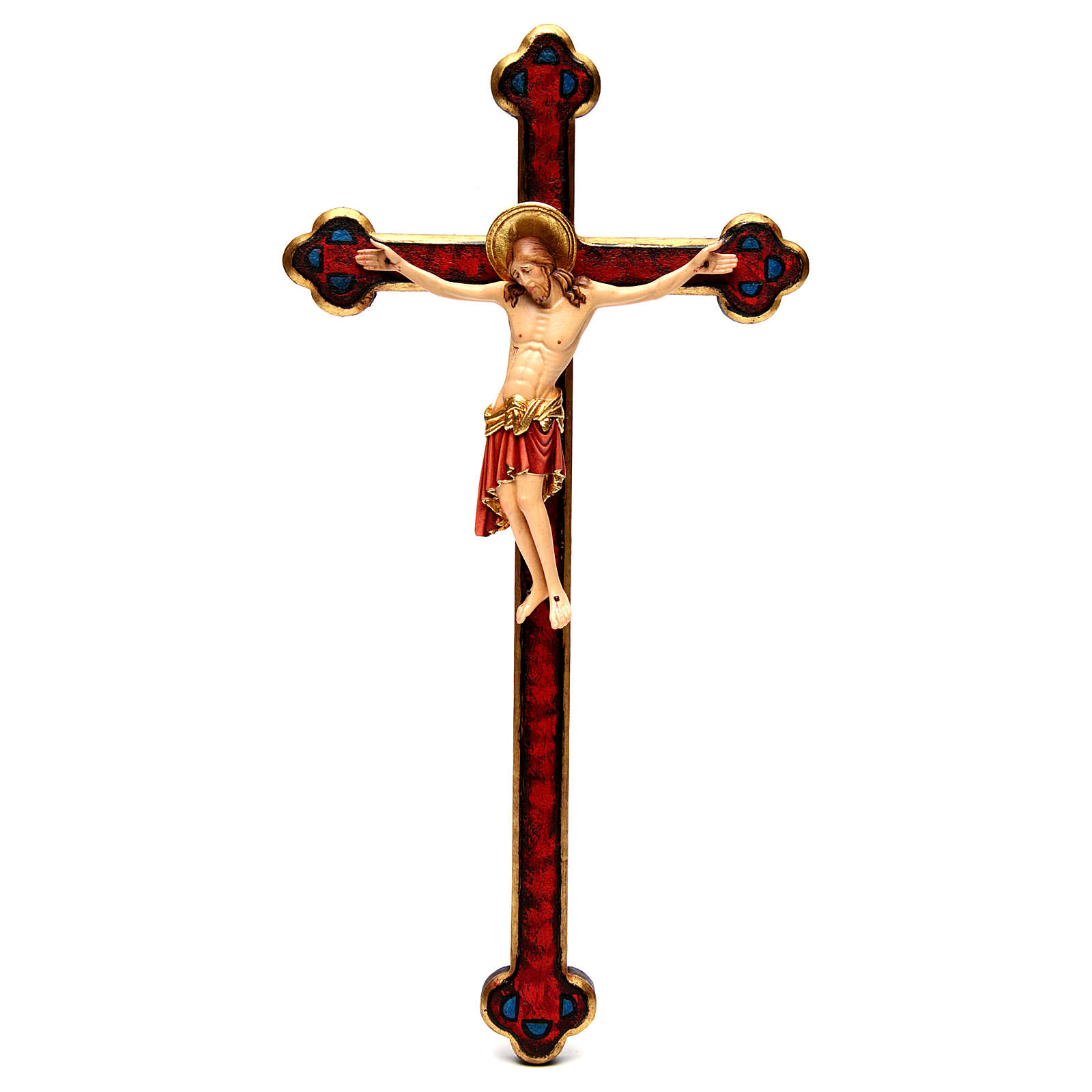 Crucifix Cimabue croix or baroque bois Val Gardena peint 4