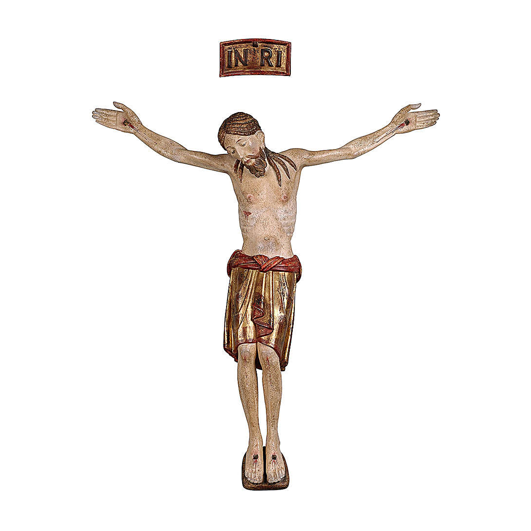San Damiano Body of Crist in wood with pure gold drape, Val Gardena 4