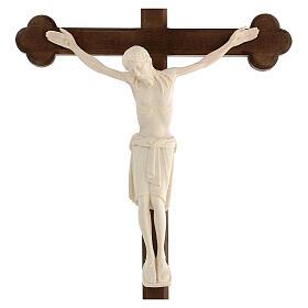 Crocifisso San Damiano croce brunita barocca legno Valgardena naturale