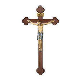 Crocifisso San Damiano croce brunita barocca legno Valgardena dipinto s1