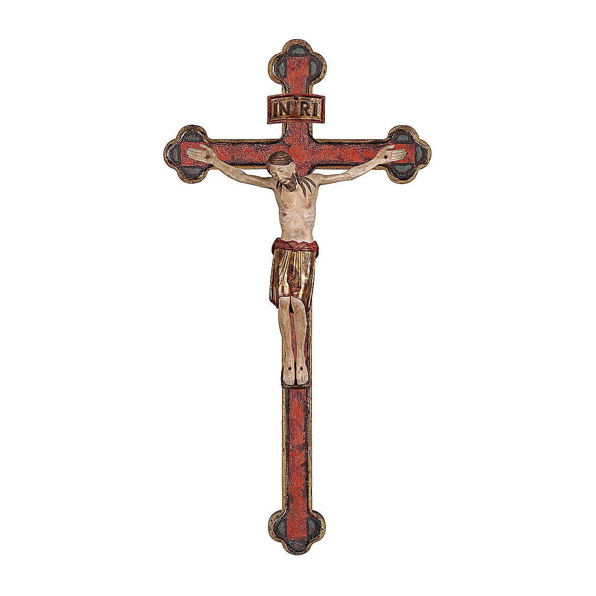 Crocifisso San Damiano croce oro zecchino barocca legno Valgardena dipinto 4