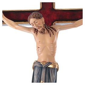Crocifisso San Damiano croce oro zecchino barocca legno Valgardena dipinto s2