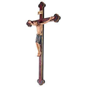 Crocifisso San Damiano croce oro zecchino barocca legno Valgardena dipinto s3