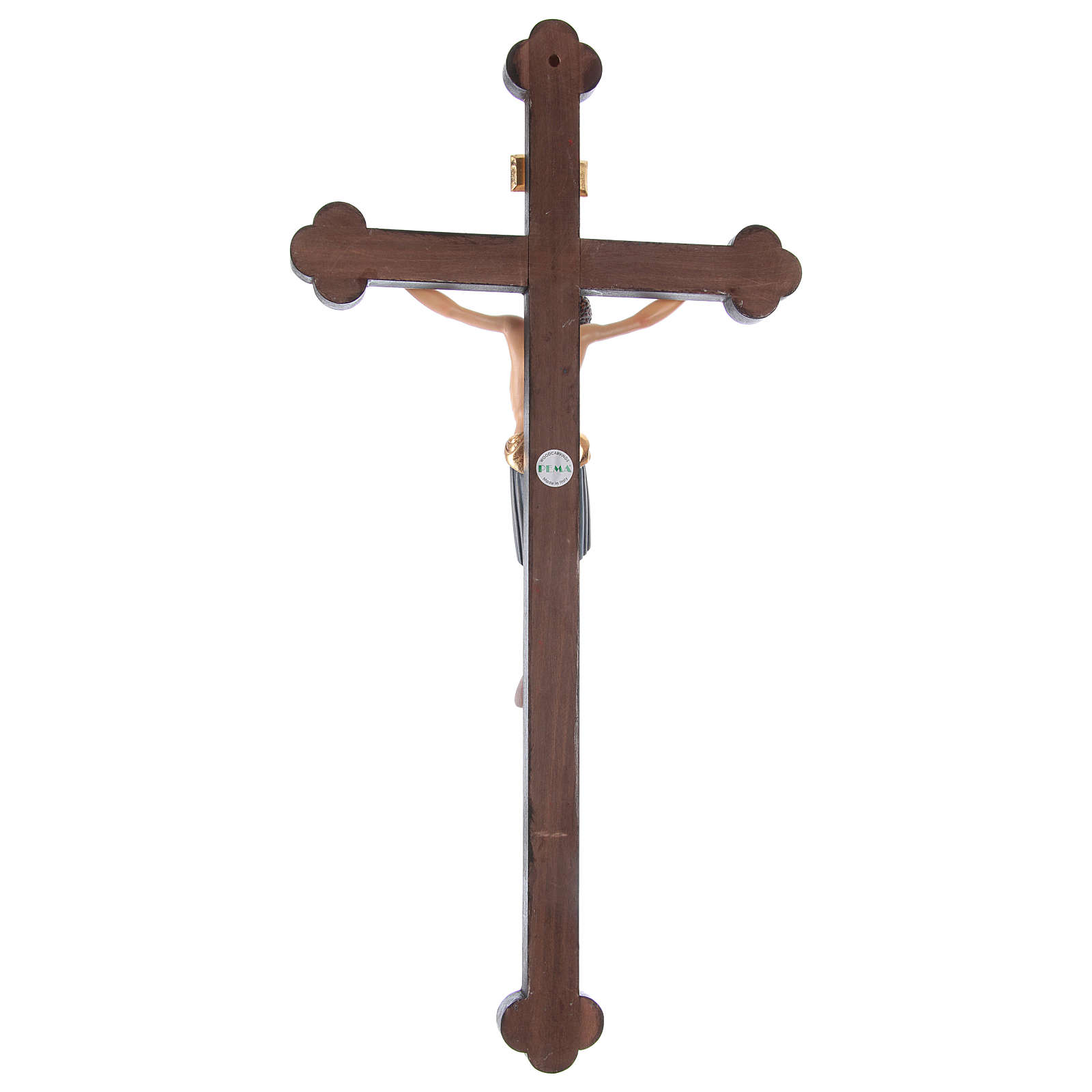 Baroque Saint Damien crucifix painted Valgardena wood and gold decorations 4