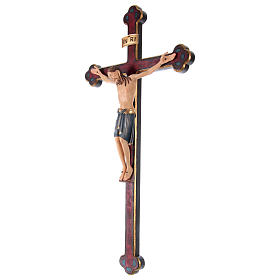 Baroque Saint Damien crucifix painted Valgardena wood and gold decorations s3