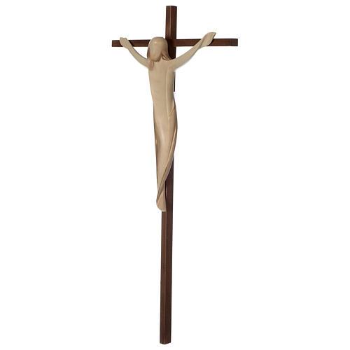 Crucifijo Ambiente cruz recta lisa madera Val Gardena bruñida 3 colores 3