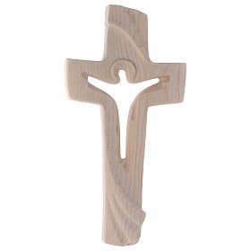 Risen Christ cross in ash wood, Val Gardena rural design s1
