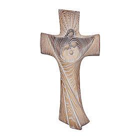 Croce ambiente Design Rustico Sacra Famiglia legno Valgardena brunito 3 colori s1