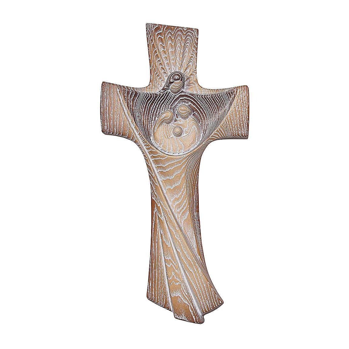 Cruz Ambiente Design Rústico Sagrada Família madeira bordo Val Gardena brunido 3 tons 4