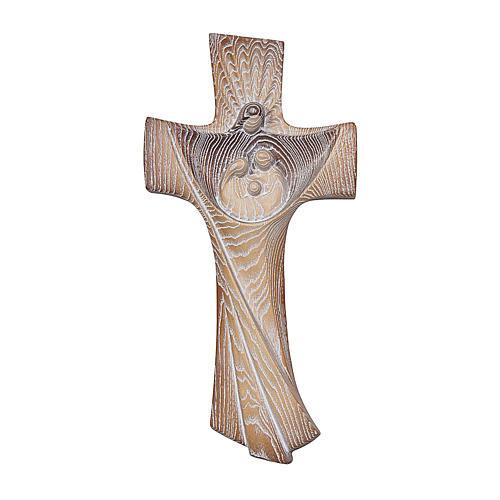 Cruz Ambiente Design Rústico Sagrada Família madeira bordo Val Gardena brunido 3 tons 1