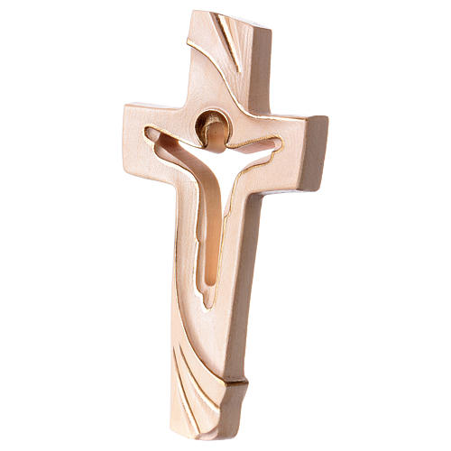 Cross of Piece Ambiente Design in wood and wax decorated with gold thread Valgardena 2