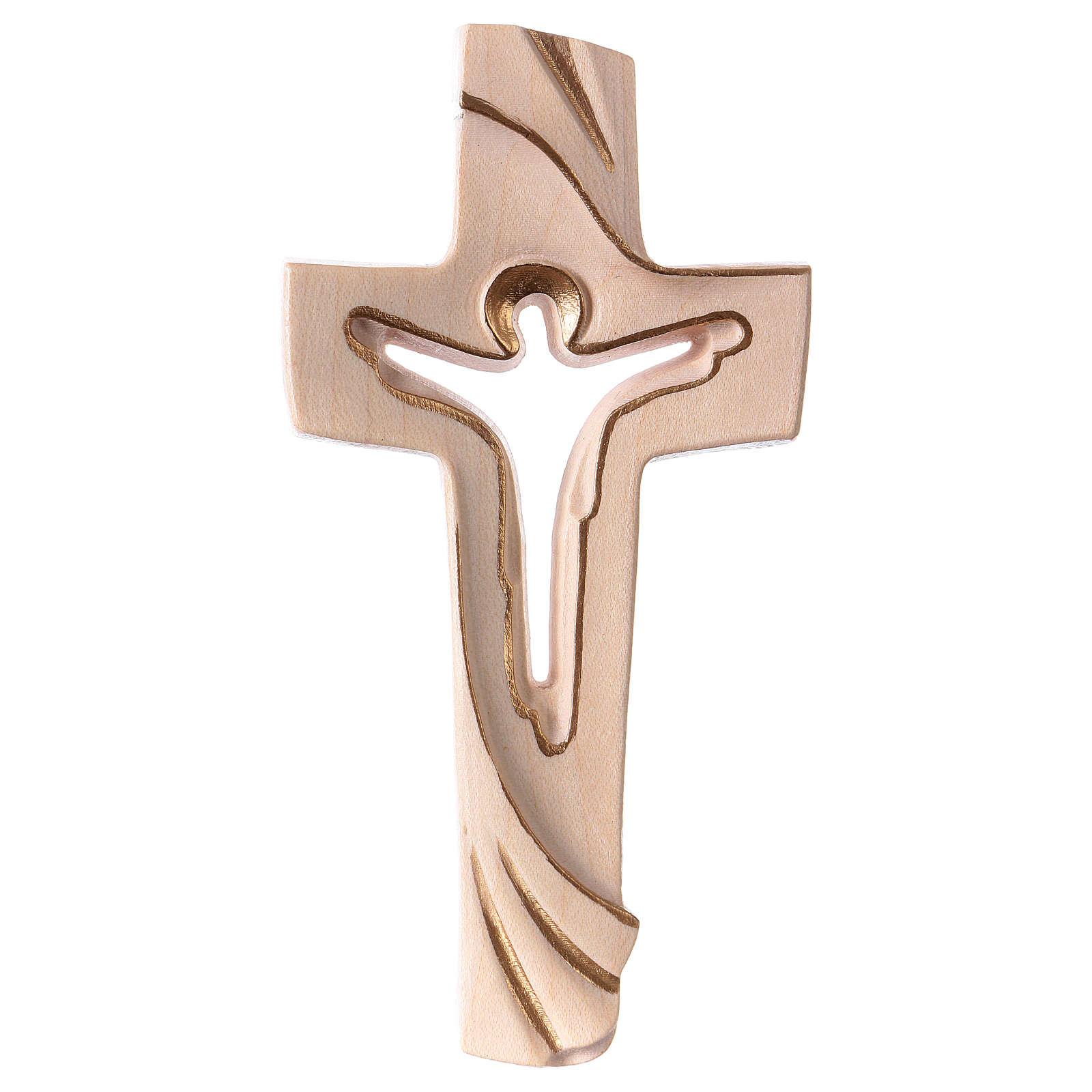Croce della Pace Ambiente Design legno Valgardena cerato filo oro 4