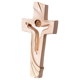 Cross of Piece Ambiente Design in wood and wax decorated with gold thread Valgardena s2