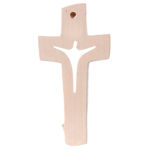 Cross of Piece Ambiente Design in wood and wax decorated with gold thread Valgardena 3