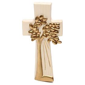 Cruz Árbol de la Vida Ambiente Design madera Val Gardena encerada hilo oro s1