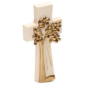 Cruz Árbol de la Vida Ambiente Design madera Val Gardena encerada hilo oro s3