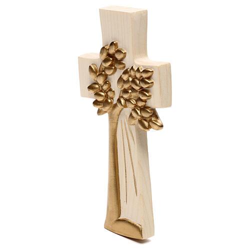 Cruz Árbol de la Vida Ambiente Design madera Val Gardena encerada hilo oro 2
