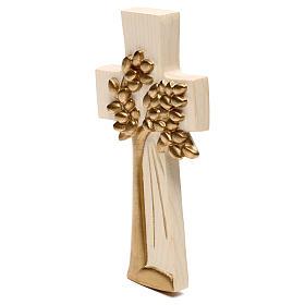 Croix Arbre de Vie Ambiente Design bois Val Gardena ciré fil or s2