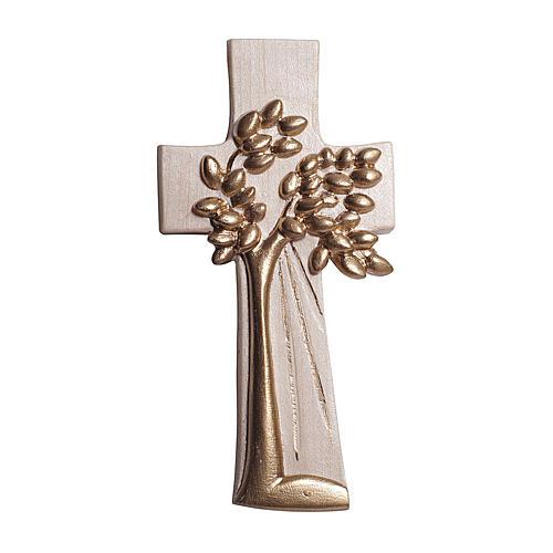 Croce Albero della Vita Ambiente Design legno Valgardena cerata filo oro 1